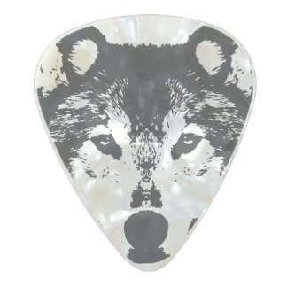 Illustration Black Wolf Pearl Celluloid Guitar Pick