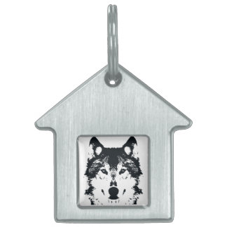 Illustration Black Wolf Pet ID Tag