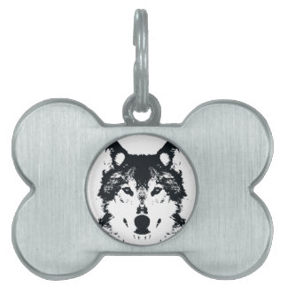 Illustration Black Wolf Pet Tag