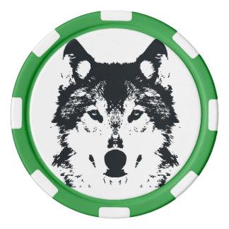 Illustration Black Wolf Poker Chips