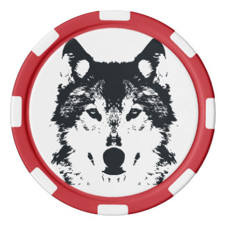 Illustration Black Wolf Poker Chips