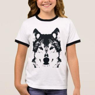 Illustration Black Wolf Ringer T-Shirt