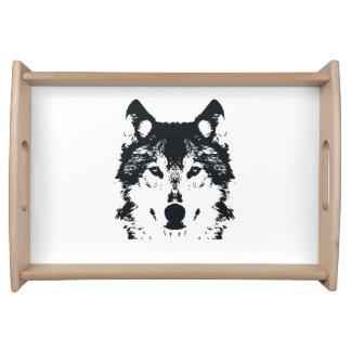 Illustration Black Wolf Serving Tray