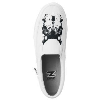 Illustration Black Wolf Slip-On Sneakers