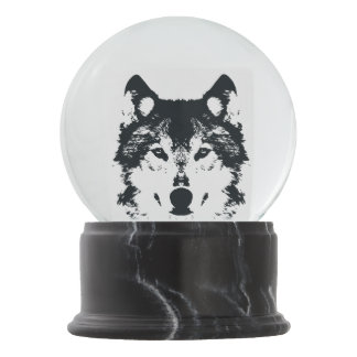 Illustration Black Wolf Snow Globe