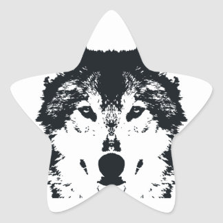Illustration Black Wolf Star Sticker
