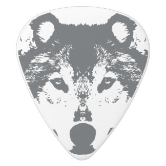 Illustration Black Wolf White Delrin Guitar Pick