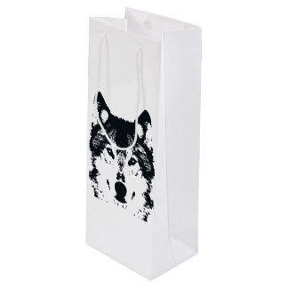 Illustration Black Wolf Wine Gift Bag