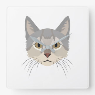 Illustration Cat Face Clock