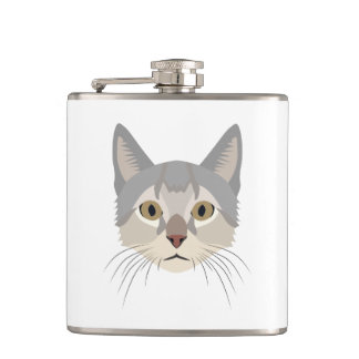 Illustration Cat Face Flasks