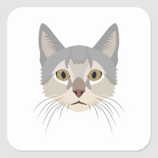 Illustration Cat Face Square Sticker