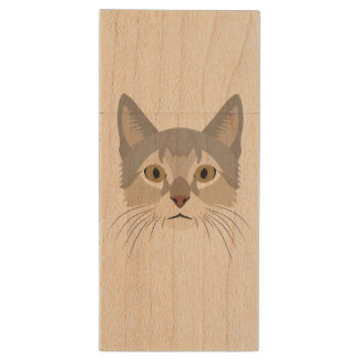 Illustration Cat Face Wood USB 3.0 Flash Drive
