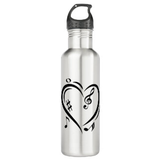 Illustration Clef Love Music 710 Ml Water Bottle
