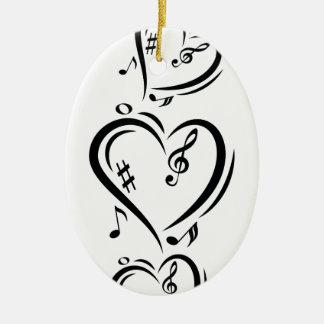 Illustration Clef Love Music Ceramic Oval Ornament