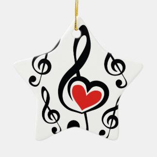 Illustration Clef Love Music Ceramic Star Ornament