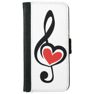 Illustration Clef Love Music iPhone 6 Wallet Case