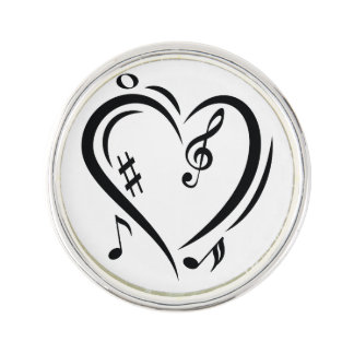 Illustration Clef Love Music Lapel Pin