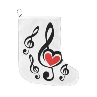 Illustration Clef Love Music Large Christmas Stocking