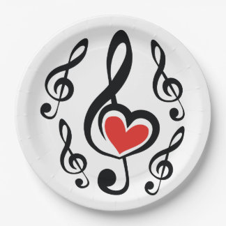 Illustration Clef Love Music Paper Plate