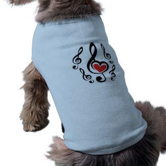 Illustration Clef Love Music Pet T Shirt
