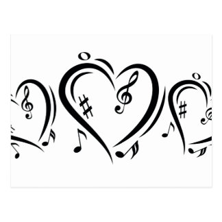 Illustration Clef Love Music Postcard