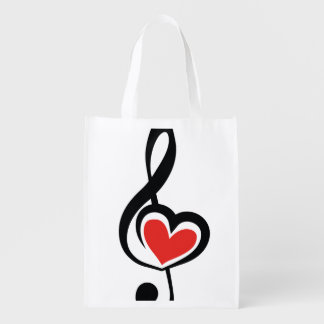 Illustration Clef Love Music Reusable Grocery Bag
