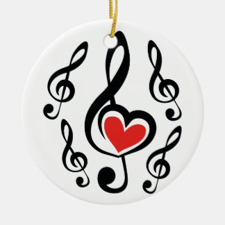 Illustration Clef Love Music Round Ceramic Ornament
