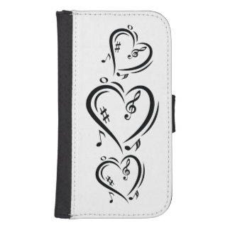 Illustration Clef Love Music Samsung S4 Wallet Case