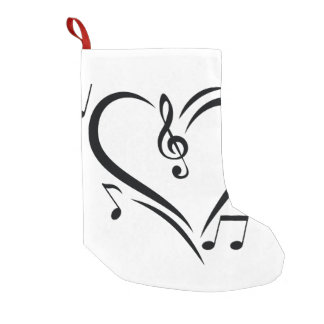 Illustration Clef Love Music Small Christmas Stocking