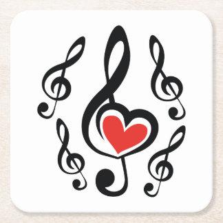 Illustration Clef Love Music Square Paper Coaster