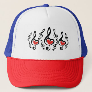 Illustration Clef Love Music Trucker Hat