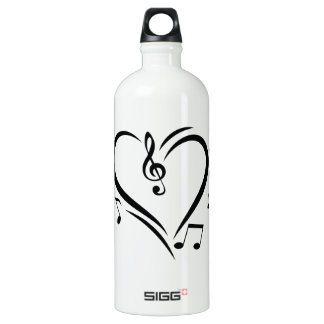 Illustration Clef Love Music Water Bottle