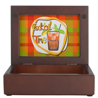 "Illustration Cocktail with fruit ""Cocktail Time"" Memory Boxes"