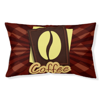 Illustration coffee bean small dog bed