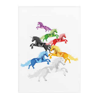 Illustration colorful wild Unicorns Acrylic Print