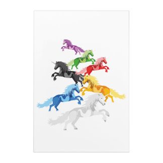 Illustration colorful wild Unicorns Acrylic Wall Art
