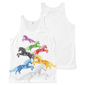 Illustration colorful wild Unicorns All-Over-Print Tank Top