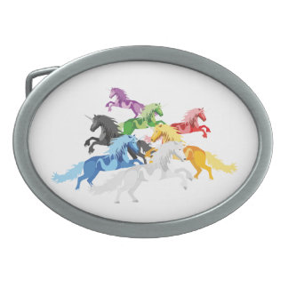 Illustration colorful wild Unicorns Belt Buckles