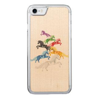 Illustration colorful wild Unicorns Carved iPhone 8/7 Case