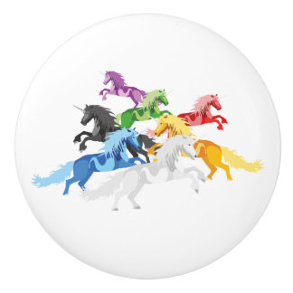Illustration colorful wild Unicorns Ceramic Knob