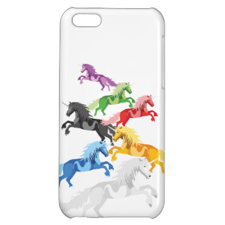 Illustration colorful wild Unicorns Cover For iPhone 5C