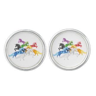 Illustration colorful wild Unicorns Cuff Links