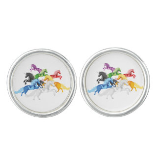 Illustration colorful wild Unicorns Cufflinks