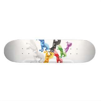 Illustration colorful wild Unicorns Custom Skate Board