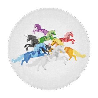 Illustration colorful wild Unicorns Cutting Board