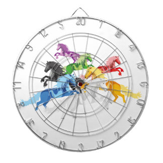 Illustration colorful wild Unicorns Dartboard
