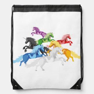 Illustration colorful wild Unicorns Drawstring Bag