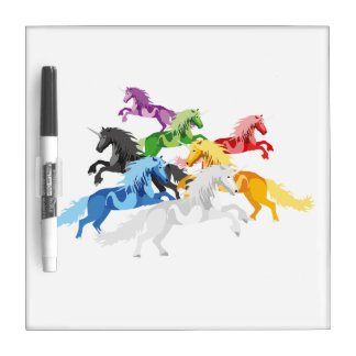 Illustration colorful wild Unicorns Dry Erase Board