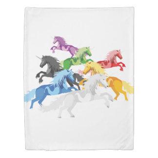 Illustration colorful wild Unicorns Duvet Cover