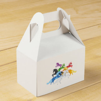 Illustration colorful wild Unicorns Favor Box